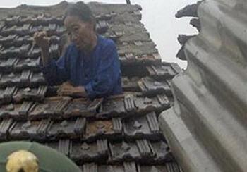 Bà cụ tự lợp mái nhà